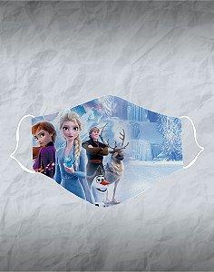 Máscara de Tecido Poliéster Personalizada Lavável Reutilizável - Frozen