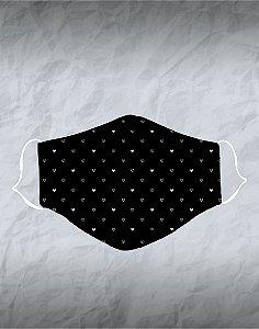 Máscara de Tecido Poliéster Personalizada Lavável Reutilizável - Corações Rosa