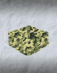 Máscara de Tecido Poliéster Personalizada Lavável Reutilizável - Camuflada Verde