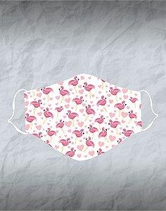 Máscara de Tecido Poliéster Personalizada Lavável Reutilizável - Flamingos e Corações