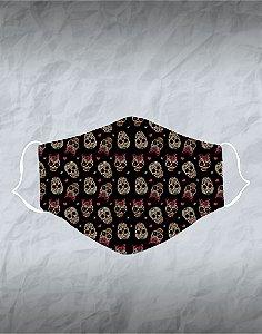 Máscara de Tecido Poliéster Personalizada Lavável Reutilizável - Caveira preta