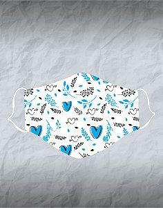 Máscara de Tecido Poliéster Personalizada Lavável Reutilizável - Coração azul e flores