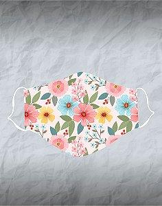 Máscara de Tecido Poliéster Personalizada Lavável Reutilizável - Flores Coloridas