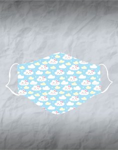 Máscara de Tecido Poliéster Personalizada Lavável Reutilizável - Nuvens