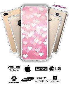 Capinha Anti Impacto - Corações rosa