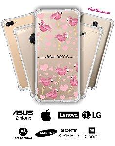 Capinha Anti Impacto - Flamingos corações com nome
