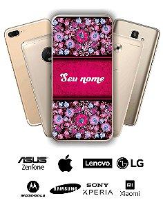 Capinha - Flores faixa rosa com nome