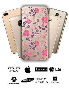 Capinha - Flores roxas e rosas