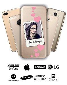 Capinha - Personalizada com nome foto e corações rosas