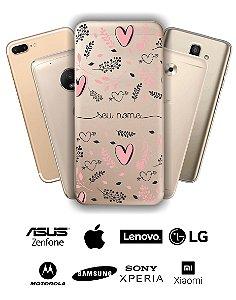 Capinha - Coração rose e flores com nome