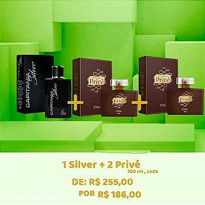 COMBO Deo Colônia 1 Silver 100 ml + 02 Privé 100 ML