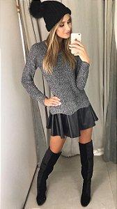 Vestido Lurex com Saia Couro