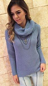 Blusa Tricô Feminina - Gola Rolê Azul Bebê