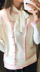 Casaquinho Chanel Rosa e Branco