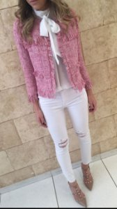 Casaco Tweed Franja Chanel Rosa