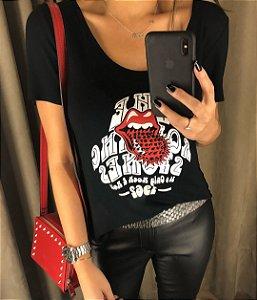 T-Shirt Rolling Stones com bordado