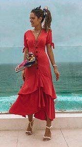 Vestido Botões Midi Carmel