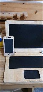 Notebook e Celular de madeira