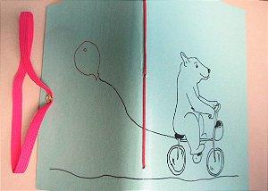 Caderninhos sem pauta / Sketchbooks - Ursinho na bicicleta