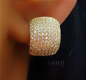 Brinco Argola Grossa 9 Fileiras de Micro Zircônias Cristal Banhado em Ouro18k