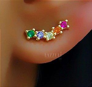 Brinco Ear Cuff com 5 Zircônias Coloridas Banhado em Ouro18k