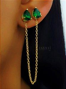 Brinco 2 Gotas com Corrente Zircônia Esmeralda Banhado em Ouro18k