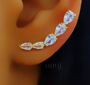 Brinco Ear Cuff Zircônia Cristal Leitosa e Translúcida banhado em Ouro18k