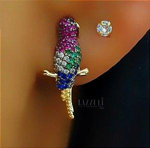 Brinco Pássaro Papagaio com Zircônia Colorida Banhado em Ouro18k