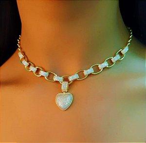 Colar Elos Luxury com Pingente Coração Banhado em Ouro18k (SKU: 00052307)