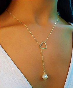 Colar Gravatinha Coração com Pérola 50 cm Banhado em Ouro18k