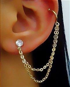 Brinco Ear Cuff Ponto de Luz 2 Fios de Corrente Banhado em Ouro18k