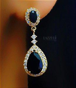 Brinco Gota Luxury Zircônia Negra e Zircônia Cristal Banhado em Ouro18k