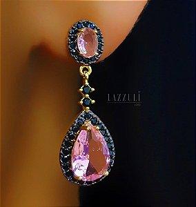 Brinco Gota Luxury Zircônia Negra com Zircônia Rosa Banhado em Ouro18k