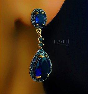 Brinco Gota Luxury Zircônia Negra com Zircônia Safira Banhado em Ouro18k