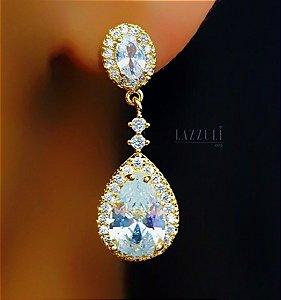 Brinco Gota Luxury Zircônia Cristal Banhado em Ouro18k (SKU: 00032121)