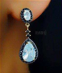Brinco Gota Luxury Zircônia Negra com Zircônia Cristal Banhado em Ouro18k