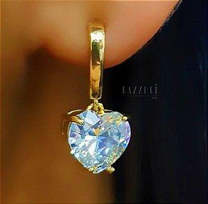 Brinco Pêndulo com Coração Zircônia Cristal Banhado em Ouro18k