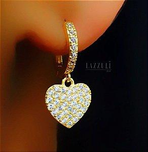 Brinco Argola 1 Fileira de Micro Zircônia com Pingente Coração Banhado em Ouro18k (SLU: 00032143)