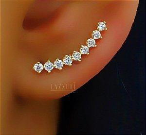 Brinco Ear Cuff 9 Zircônias Cristais Banhado em Ouro18k (SKU: 00032144)