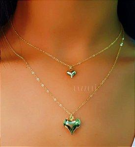 Colar Duplo Coração Banhado em Ouro18k (SKU: 00052319)