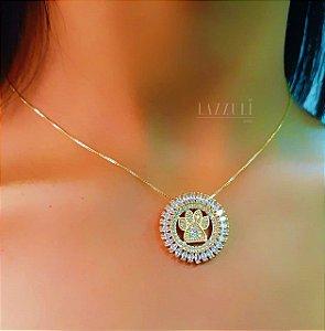 Colar Mandala Patinha com ZIrcônia Cristal Banhado em Ouro18k
