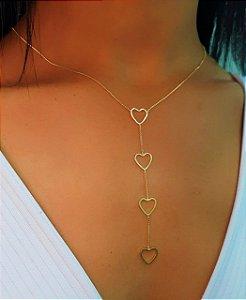 Colar Gravatinha 50 cm com 4 Corações Lisos Banhado em Ouro18k
