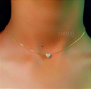 Choker Mini Coração Zircônia Cristal Banhado em Ouro18k (SKU: 00049887)