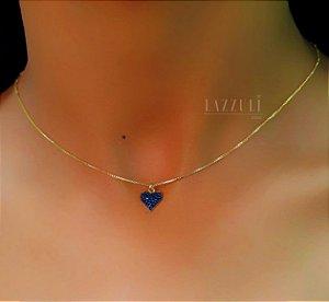 Choker com Pingente Coração Zircônia Azul Banhado em Ouro18k