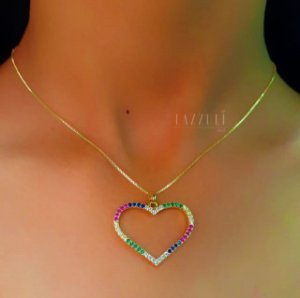 Colar Big Coração 3.0 cm Micro Zircônia Colorida Banhado em Ouro18k