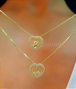 Escapulário Sagrado Coração com Micro Zircônias Banhado em Ouro18k (SKU: 00052323)