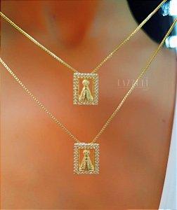 Escapulário Nossa Senhora Micro Zircônia Banhado em Ouro18k (SKU: 00052325)