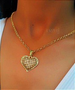 Colar Elo Português com Pingente Coração Diamantado Banhado em Ouro18k