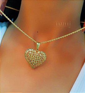 Colar Elo Baiano com Pingente Coração Diamantado Banhado em Ouro18k