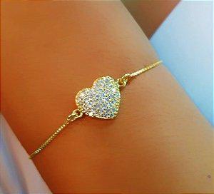 Pulseira Regulável Coração Micro Zircônia Cristal Banhado em Ouro18k